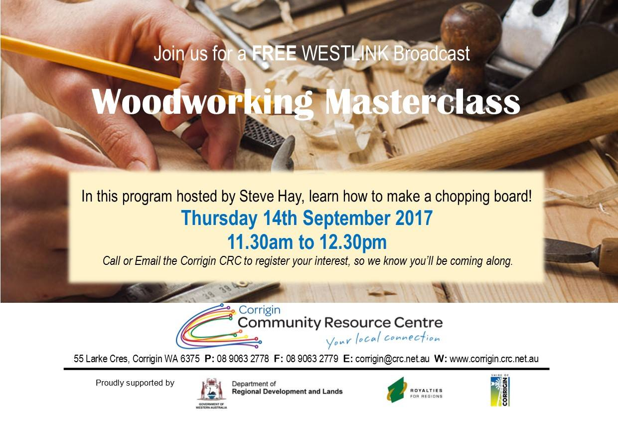 Image: WOODWORKING MASTERCLASS Westlink Broadcast