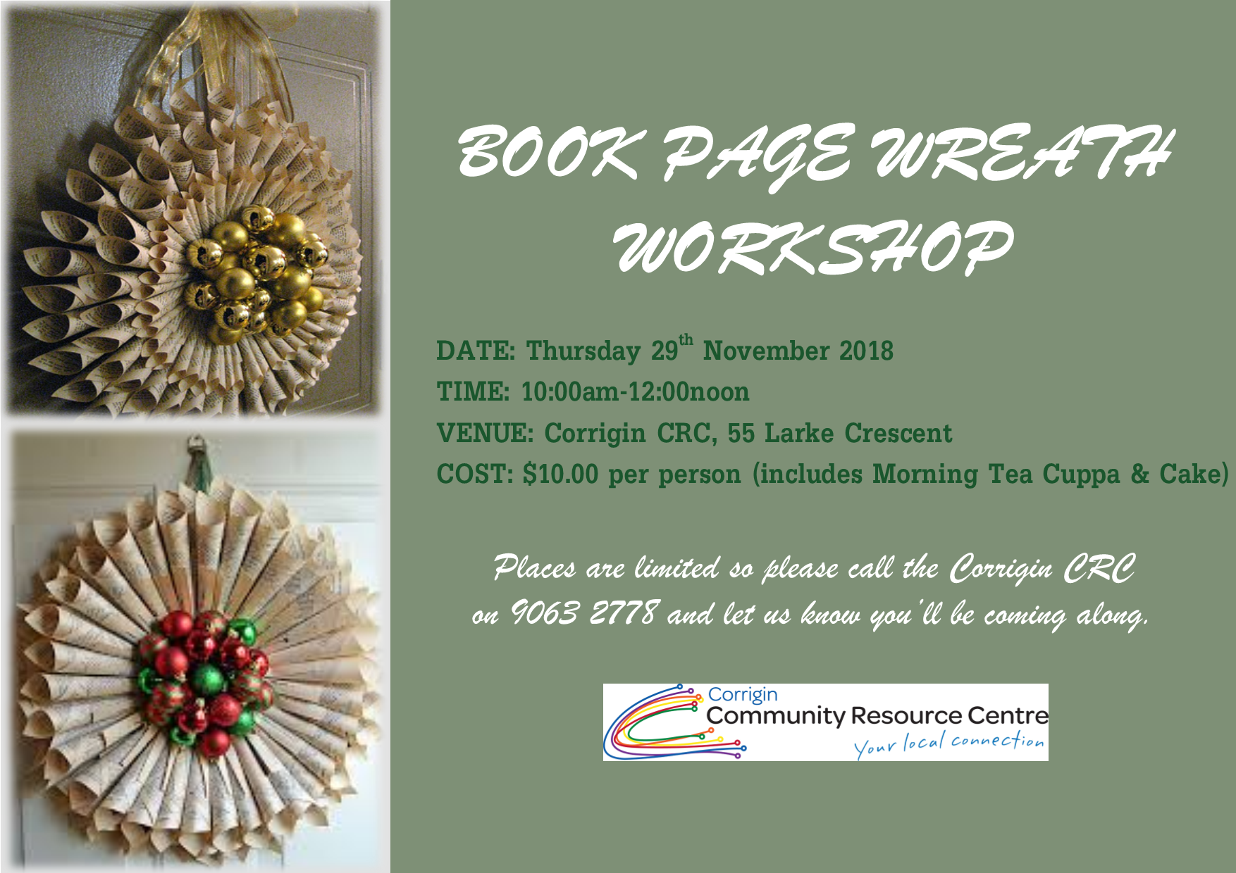 BOOK PAGE CHRISTMAS WREATH WORKSHOP