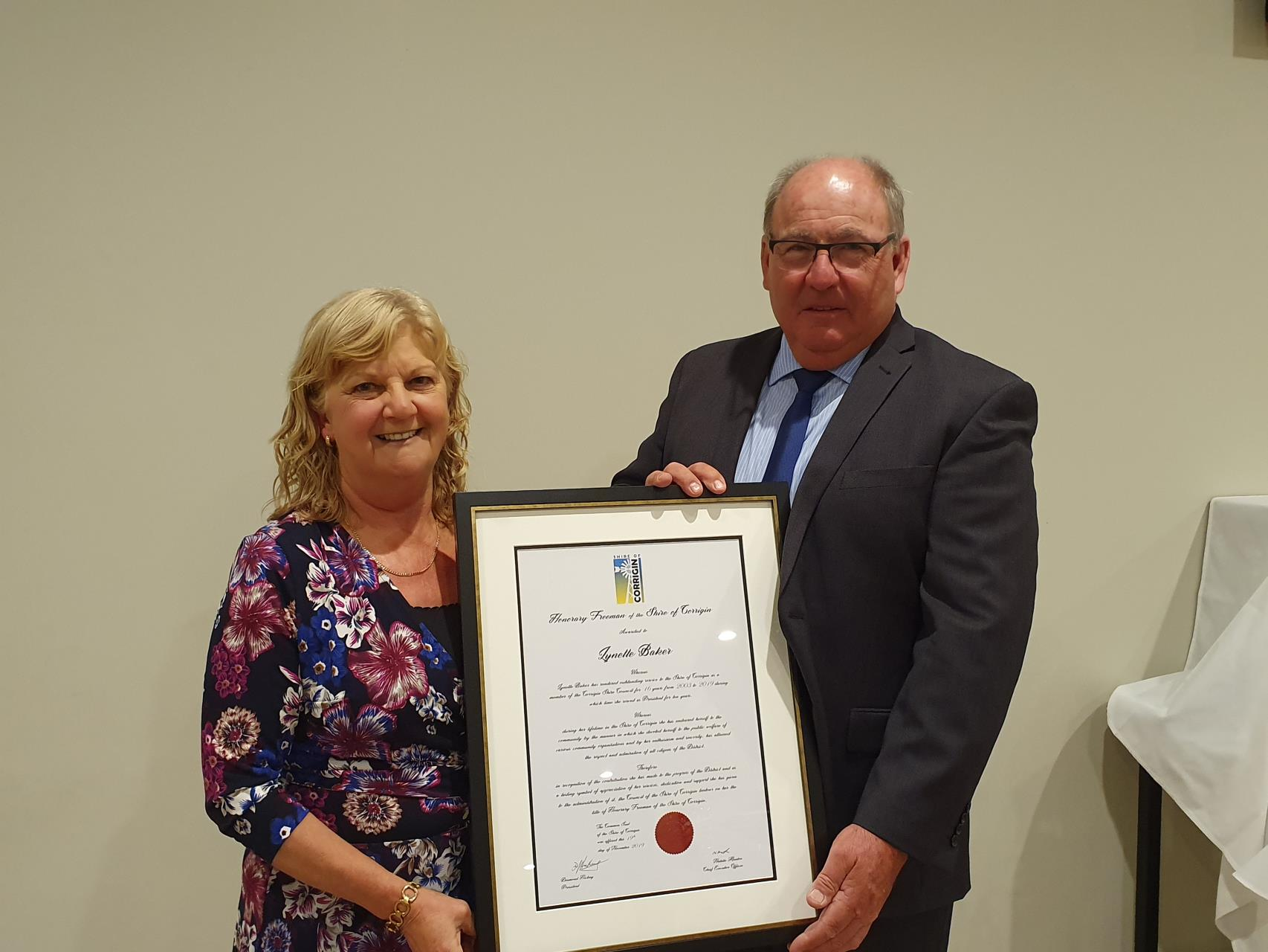 HONORARY FREEMAN OF THE SHIRE AWARDED TO LYNETTE BAKER